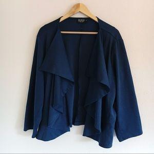 Igigi Blue Waterfall Draped Open Sweater Jacket